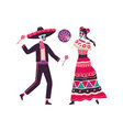 couple of happy mexican skeletons in holiday vector image vector image