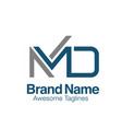 creative initial letter md logo concept vector image
