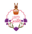 cute bunny basket eggs purple flowers and frame vector image