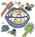 dental hygiene humour with mouth showing vector image vector image