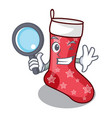 detective cartoon christmas socks for gifts vector image vector image