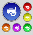 Diving mask icon sign Round symbol on bright vector image