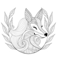 entangle fox face in monochrome doodle style hand vector image vector image