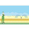 farmer with tablet in a wheat field vector image vector image