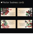 four business cards in floral design vector image