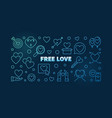 free love blue outline banner on dark vector image