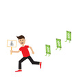 Funny cartoon running guy Boy character vector image vector image