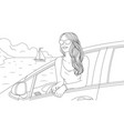 graphics a beautiful girl arrived car vector image