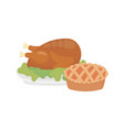 happy thanksgiving day baked turkey and cake vector image vector image