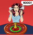 hysteric woman behind roulette table vector image vector image