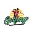 logo design golfing professional club with man vector image vector image