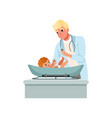 male pediatrician in white coat weighting baby on vector image vector image