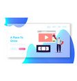 man watching video course landing page template vector image vector image