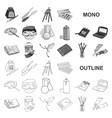 painter and drawing monochrom icons in set vector image