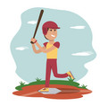 physical education - sport boy play baseball vector image vector image