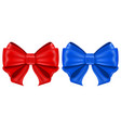 red and blue ribbon bows shiny 3d symbols vector image