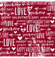 red background with valentine heart and wishes tex vector image vector image
