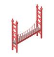 red bridge icon isometric style vector image vector image
