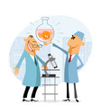 scientists rejoicing in their success vector image
