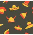 Seamless background with different hats vector image vector image