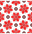 seamless tricolor pattern with red grunge flowers vector image vector image