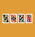set different kind jacks winning poker hand vector image vector image
