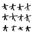 set of black hand drawn stars in doodle style vector image