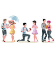 set of different couples and families vector image vector image