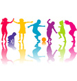 Set of silhouettes of colored children vector image