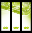 Set wavy nature banners with green leaves vector image