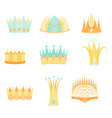 set with diverse colored fantasy flat crowns vector image