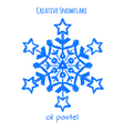 Snowflake hand drawn with oil pastels vector image