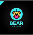 space robot bear logotype toy store icon vector image vector image