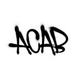 sprayed acab with overspray in black over white vector image
