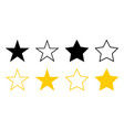 stars icons collection stars black and gold color vector image vector image