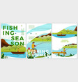 summer posters set river fishing activities vector image vector image