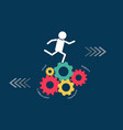 teamwork business concept man running on many vector image