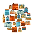 Town icon set of cute colorful houses vector image vector image