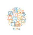 travel concept with icons and signs in trendy vector image vector image