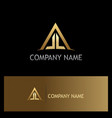 triangle roof house construction gold logo vector image vector image