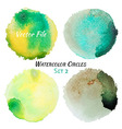 Watercolor Green and Yellow Colorful Circles Set vector image vector image