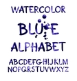 Watercolor hand written purple alphabet vector image vector image