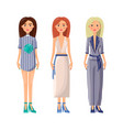 women wearing summer clothes vector image vector image