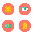 Money Circle Flat Icons Set vector image