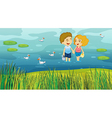 A girl and a boy in the pond vector image vector image
