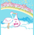 baby girl card - a stork delivering a baby girl vector image