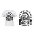 bear hunting club t-shirt print mockup wild animal vector image
