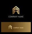building company shape gold logo vector image vector image