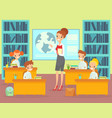 children in classroom with vector image