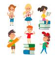 children studying school kids going study together vector image vector image